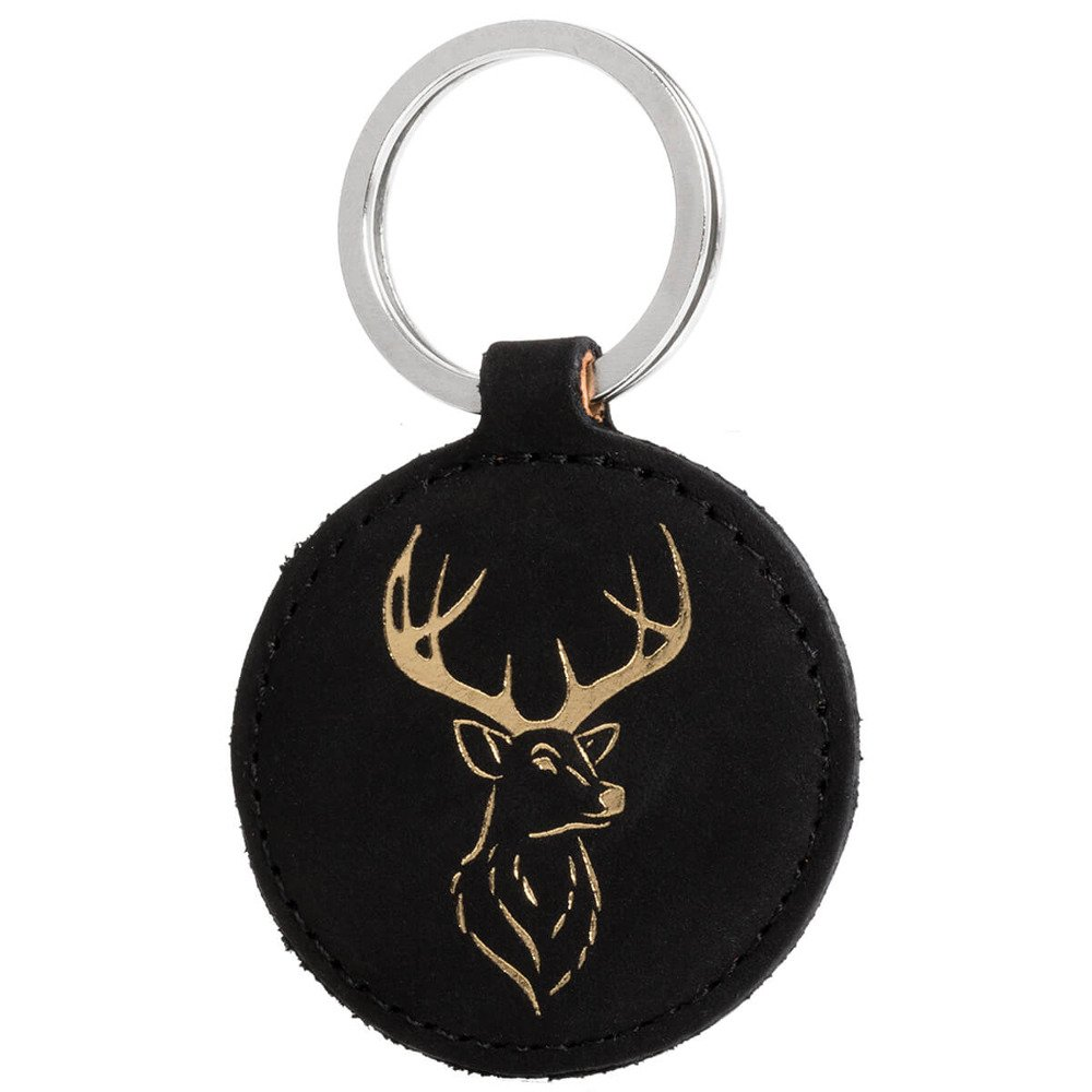 Keychain - Nubuck Black - Deer Gold