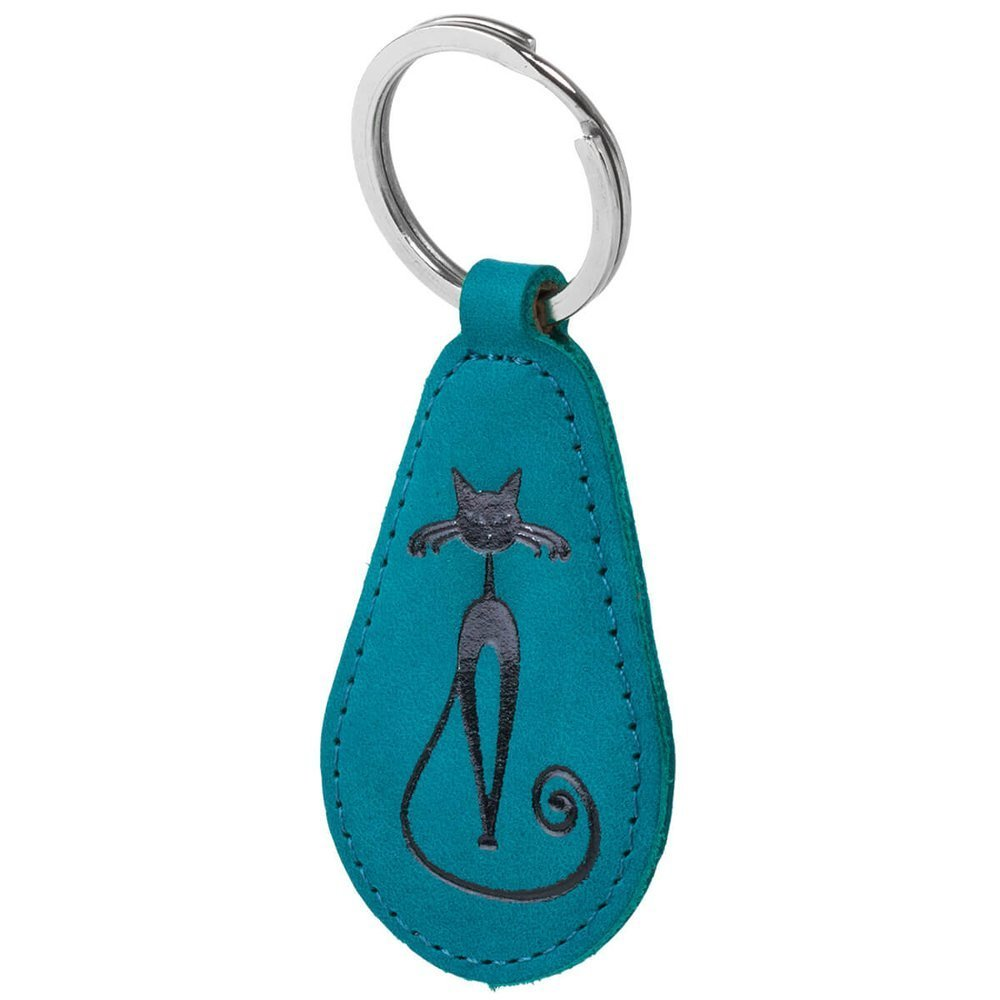 Keychain - Nubuck Turquoise - Black Fabulous Cat