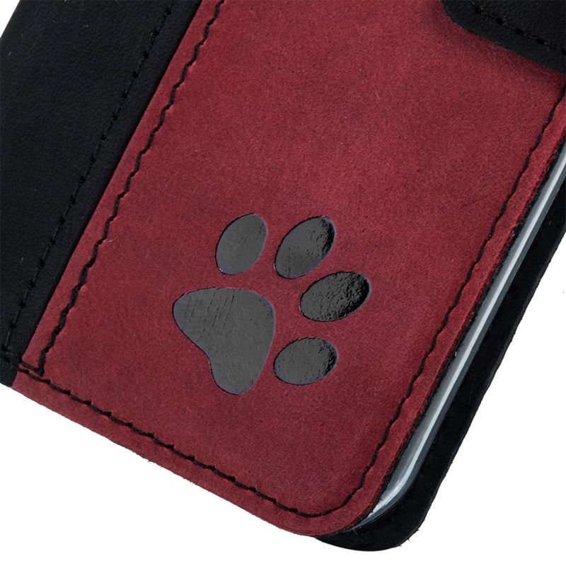 Wallet case - Nubuck Black and Red - Paw