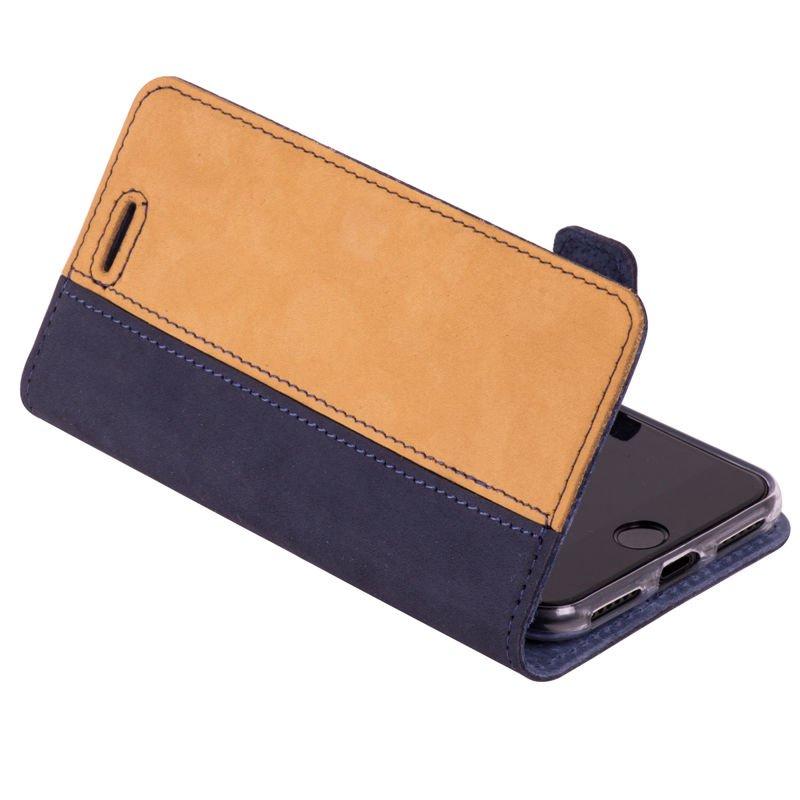 Wallet case - Nubuck Navy Blue and Camel