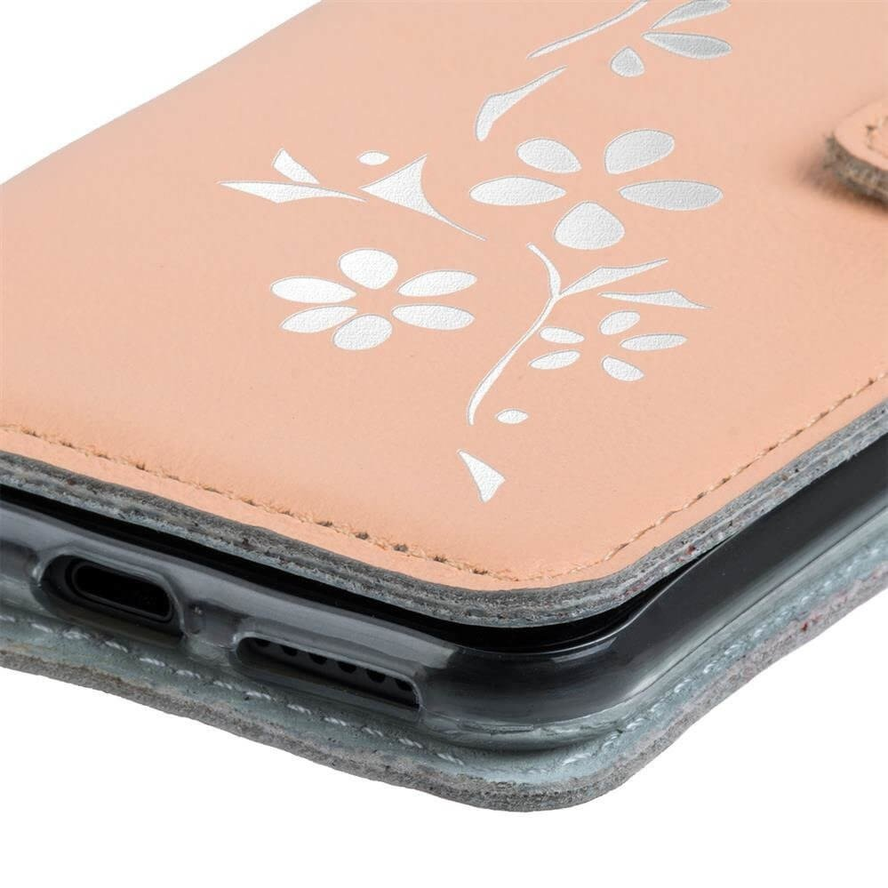 Wallet case - Pastel Peach - Flowers