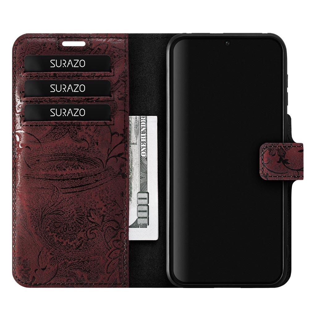Wallet case RFID Premium - Ornament Burgund