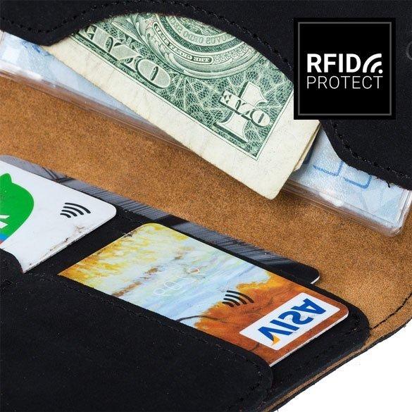 Portfel Slim RFID - Nubuk Czarny