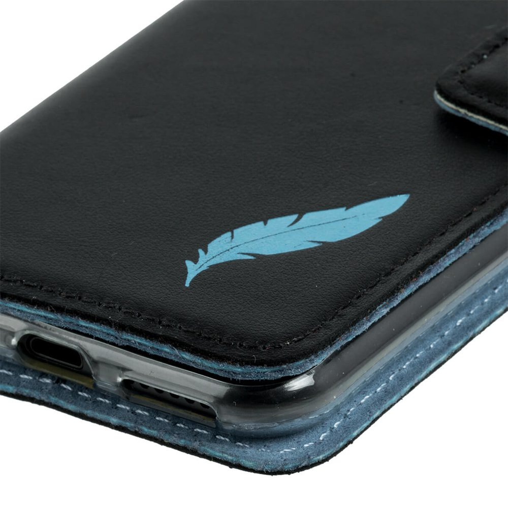 Wallet case - Costa Czarny - Turkus Pióro