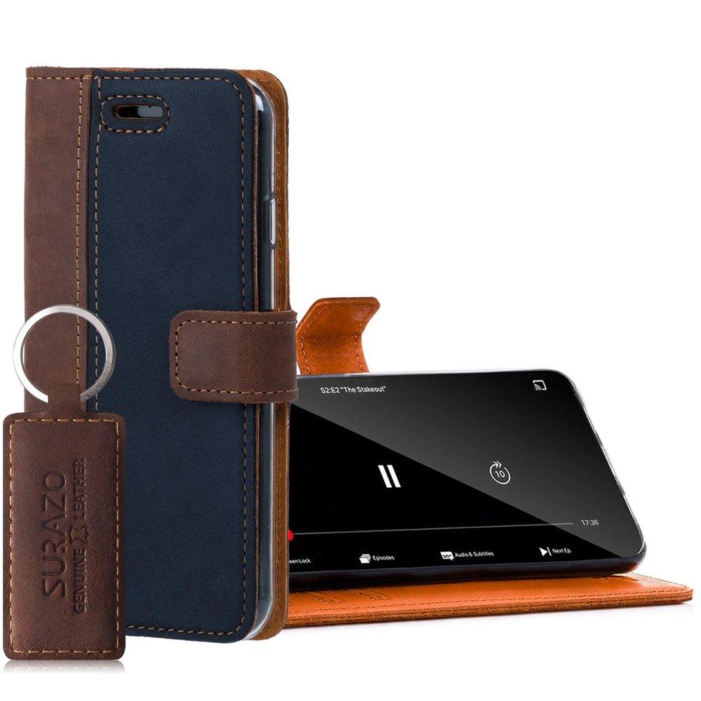 Wallet case - Nubuk Orzechowy i Granatowy