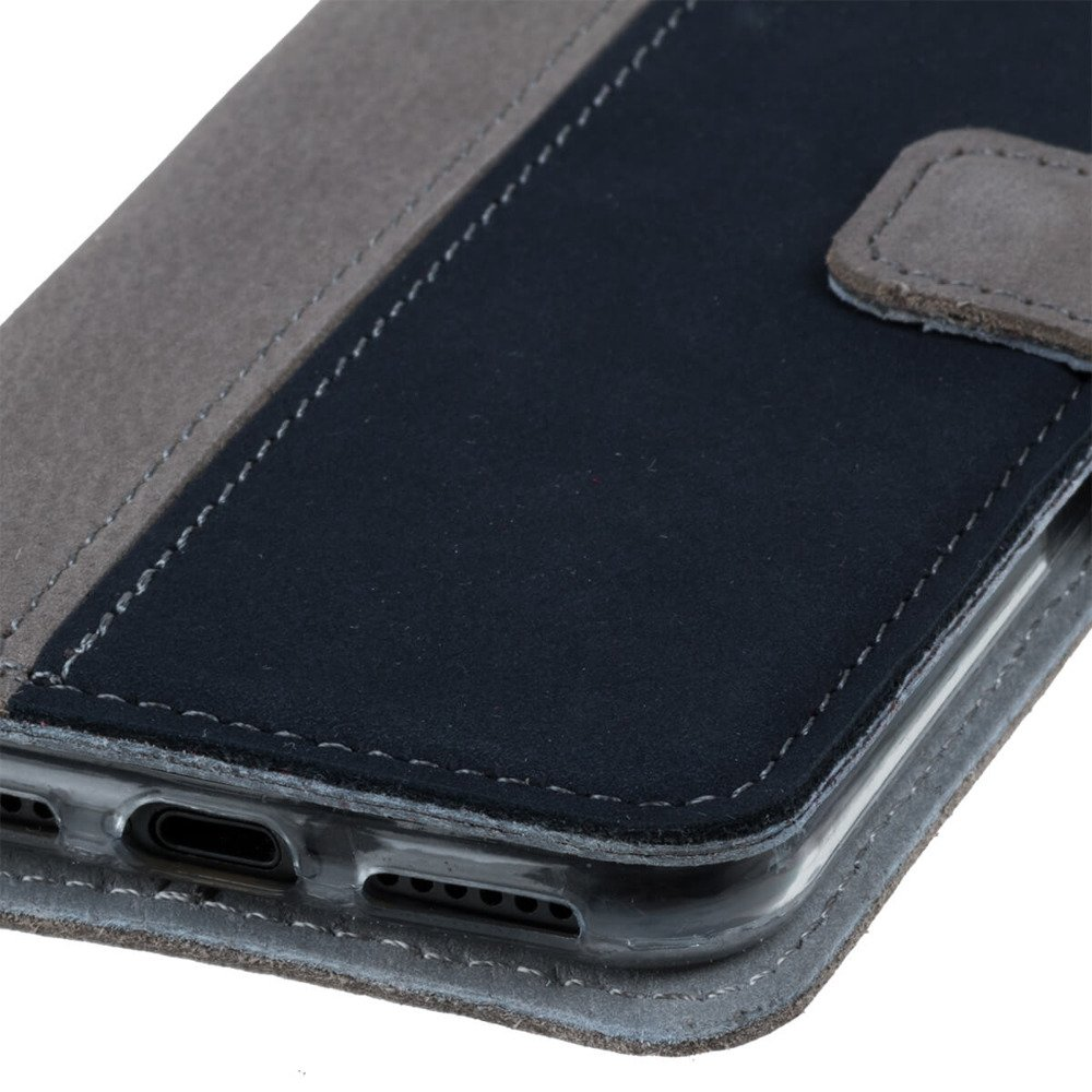 Wallet case - Nubuk Szary i Granatowy